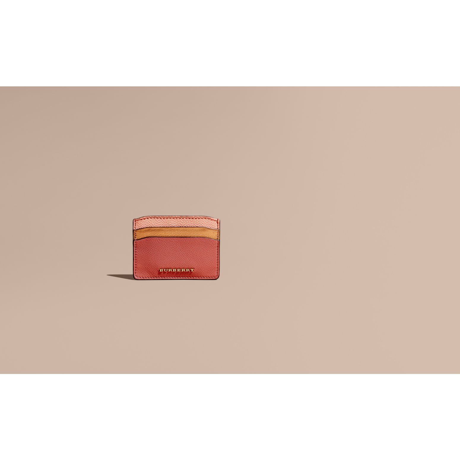 Copper pink Colour Block Leather Card Case - gallery image 2
