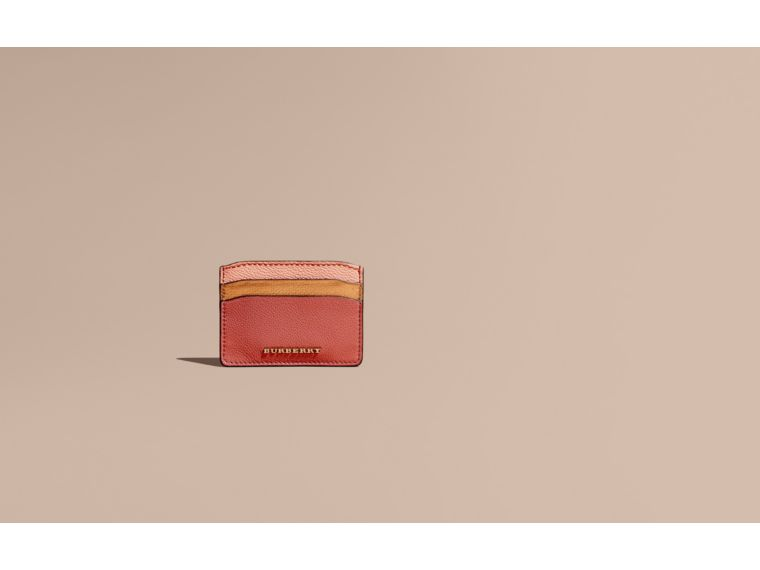 Copper pink Colour Block Leather Card Case Copper Pink - cell image 1