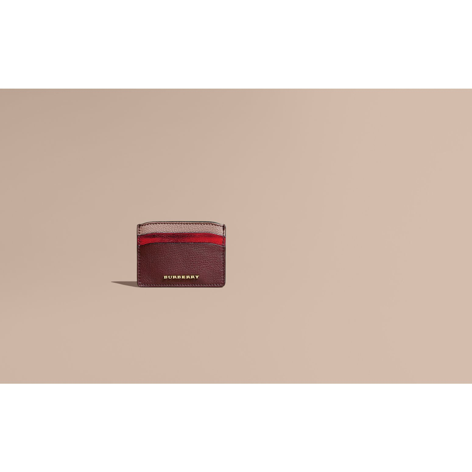 Colour Block Leather Card Case Mahogany Red - gallery image 2