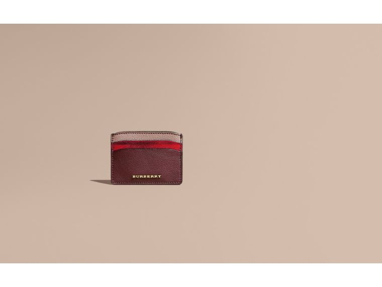 Colour Block Leather Card Case Mahogany Red - cell image 1