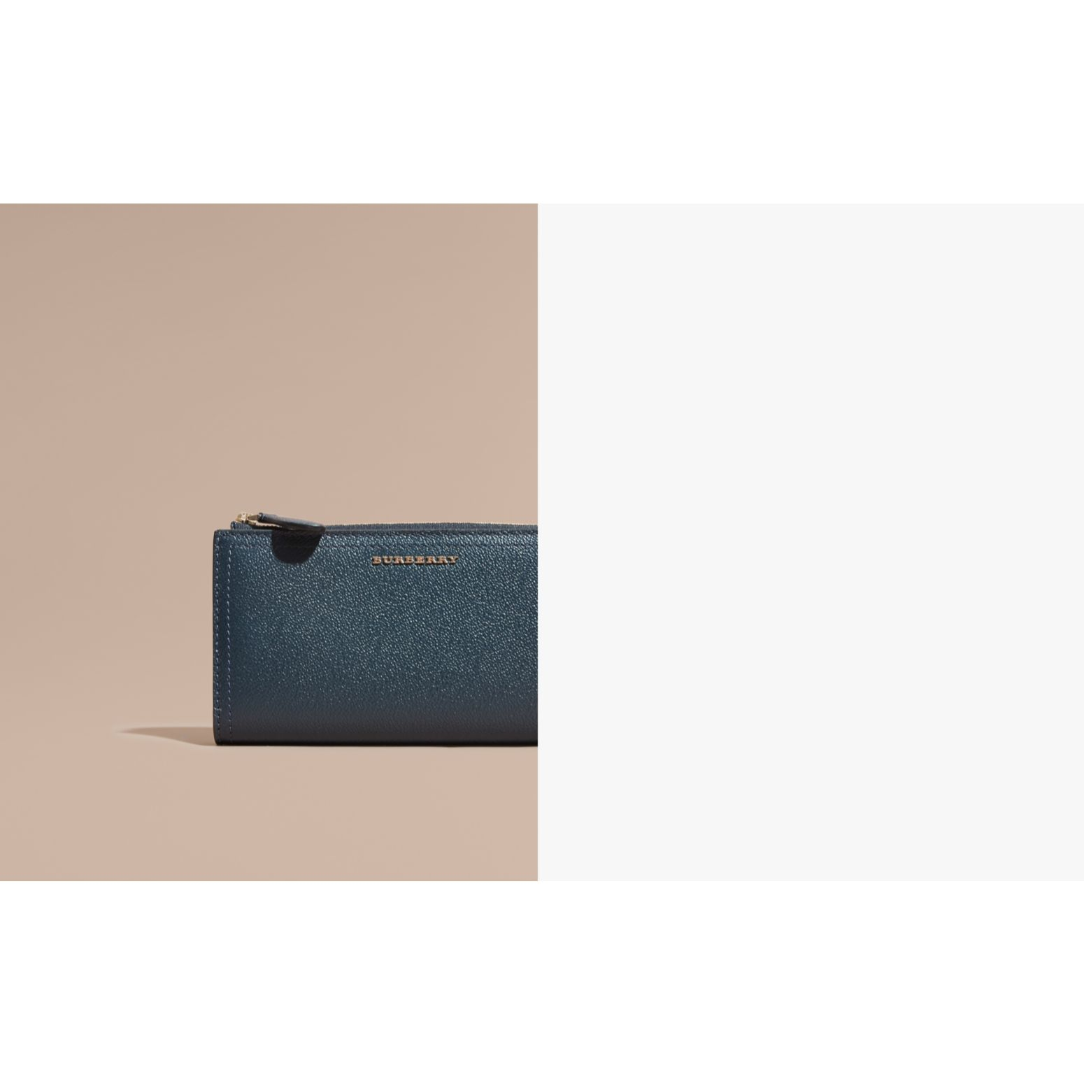 Grainy Leather Ziparound Wallet in Blue Carbon - Women | Burberry - gallery image 1