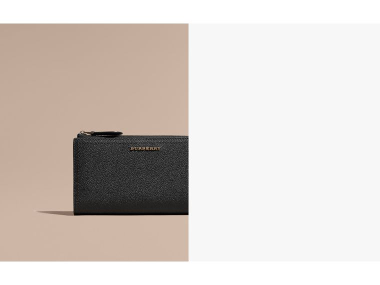 Grainy Leather Ziparound Wallet in Black - Women | Burberry Australia - cell image 1