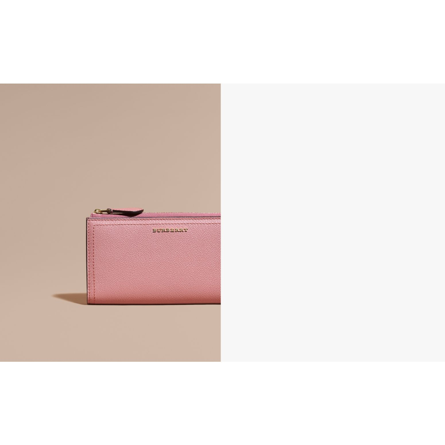 Grainy Leather Ziparound Wallet in Dusty Pink - gallery image 2