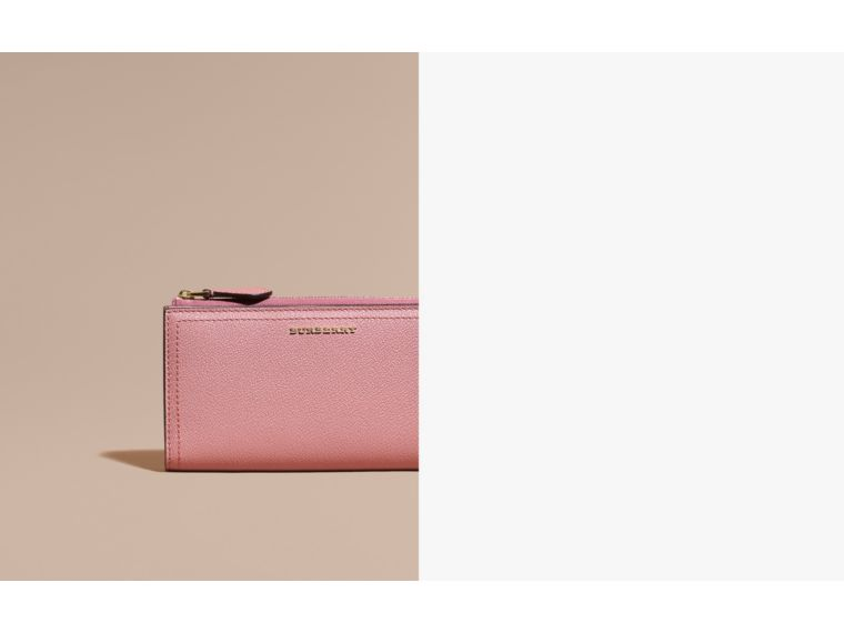 Grainy Leather Ziparound Wallet in Dusty Pink - cell image 1