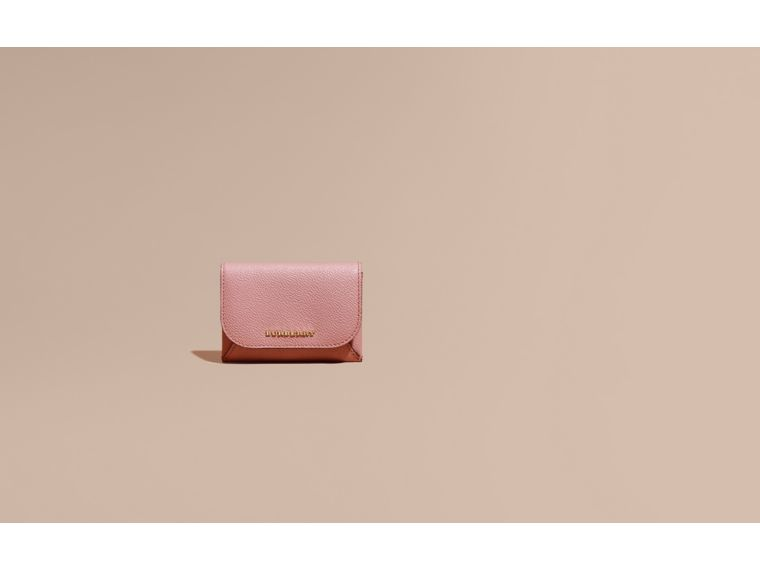 Leather Coin Case with Removable Card Compartment in Dusty Pink - Women | Burberry - cell image 1