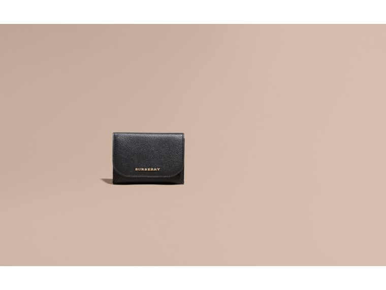 Leather Coin Case with Removable Card Compartment in Black - Women | Burberry - cell image 1