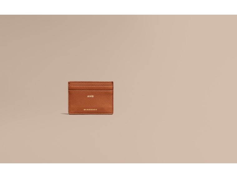 House Check and Grainy Leather Card Case Russet - cell image 1