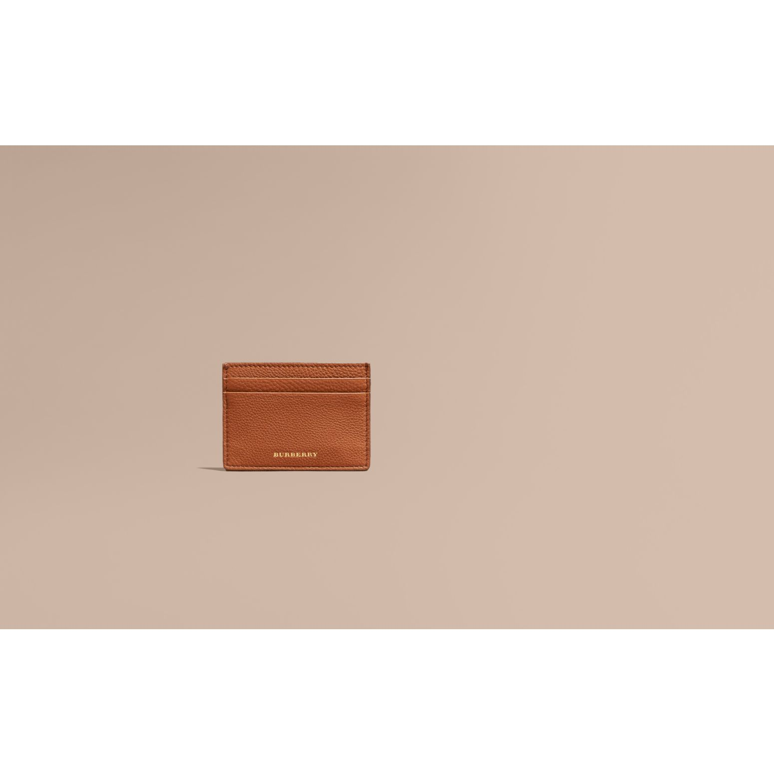 House Check and Grainy Leather Card Case Russet - gallery image 2