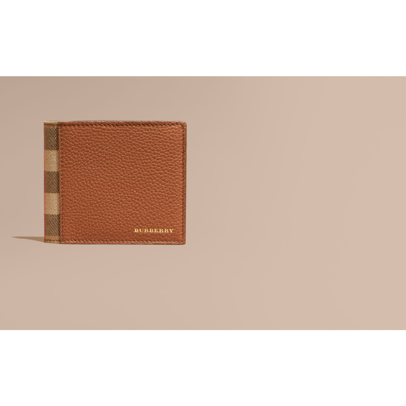 Leather and House Check Folding Wallet Russet - gallery image 2