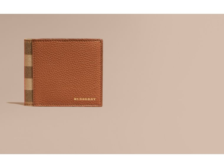Leather and House Check Folding Wallet Russet - cell image 1