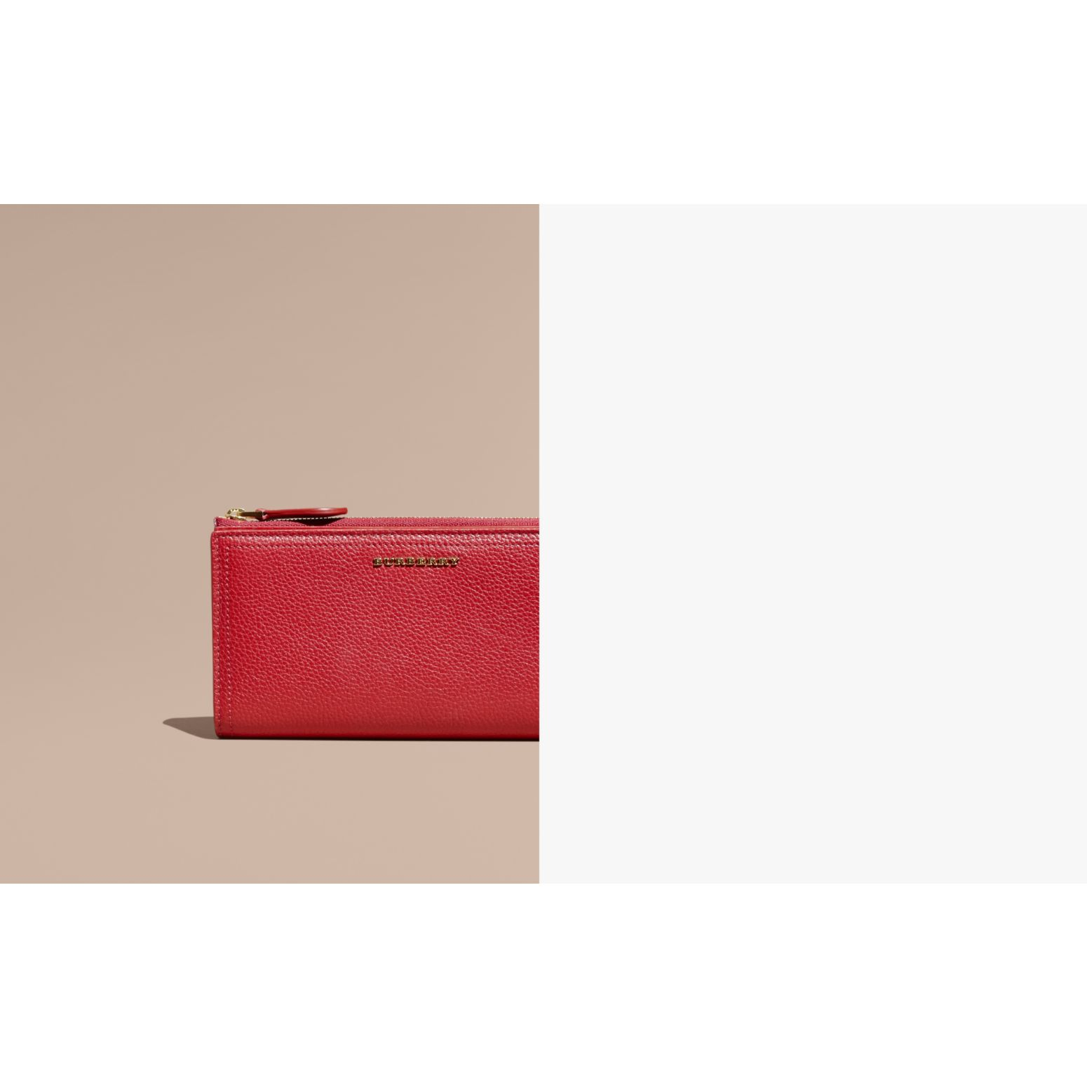 Grainy Leather Ziparound Wallet in Parade Red - Women | Burberry Australia - gallery image 1