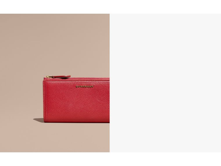 Grainy Leather Ziparound Wallet in Parade Red - Women | Burberry Canada - cell image 1