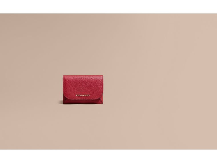 Leather Coin Case with Removable Card Compartment in Parade Red - Women | Burberry - cell image 1