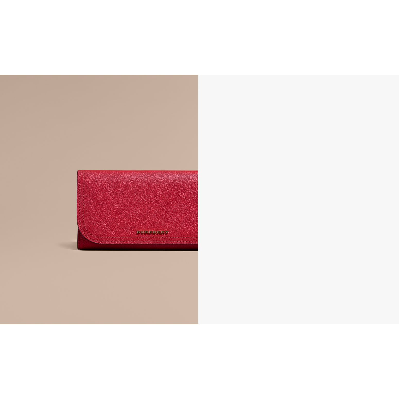 Leather Continental Wallet with Removable Coin Case in Parade Red - Women | Burberry - gallery image 2