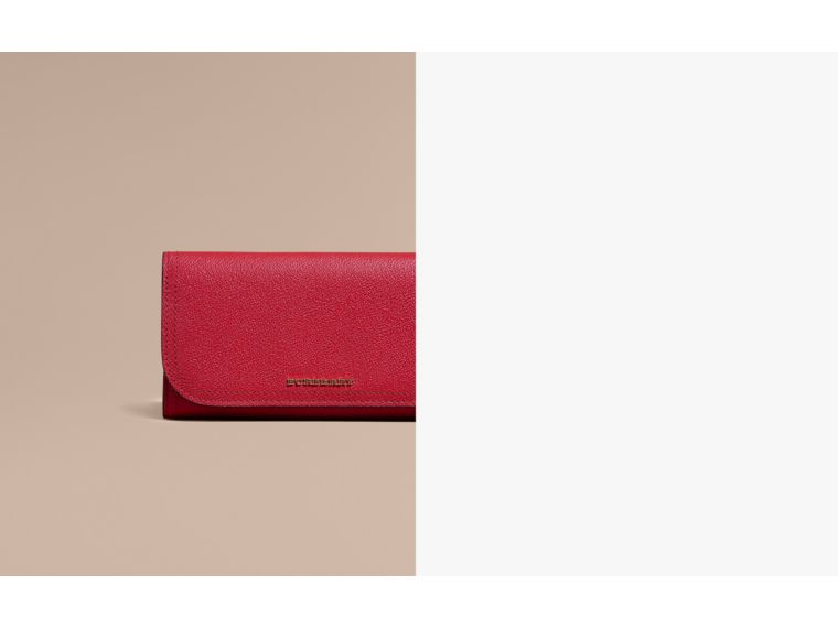 Leather Continental Wallet with Removable Coin Case in Parade Red - Women | Burberry - cell image 1