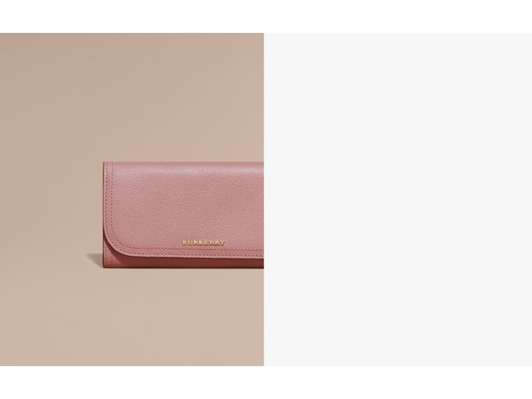 Leather Continental Wallet with Removable Coin Case in Dusty Pink - Women | Burberry - cell image 1
