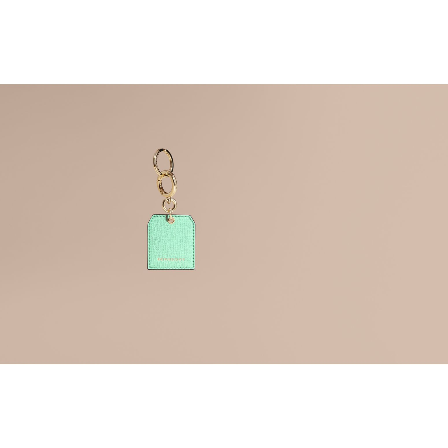 Grainy Leather Key Charm in Light Mint | Burberry - gallery image 2