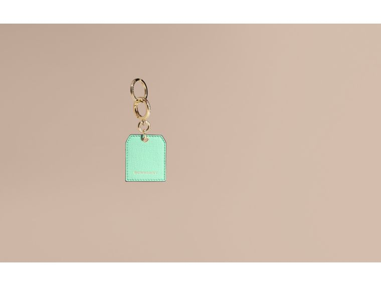 Grainy Leather Key Charm in Light Mint - Women | Burberry - cell image 1