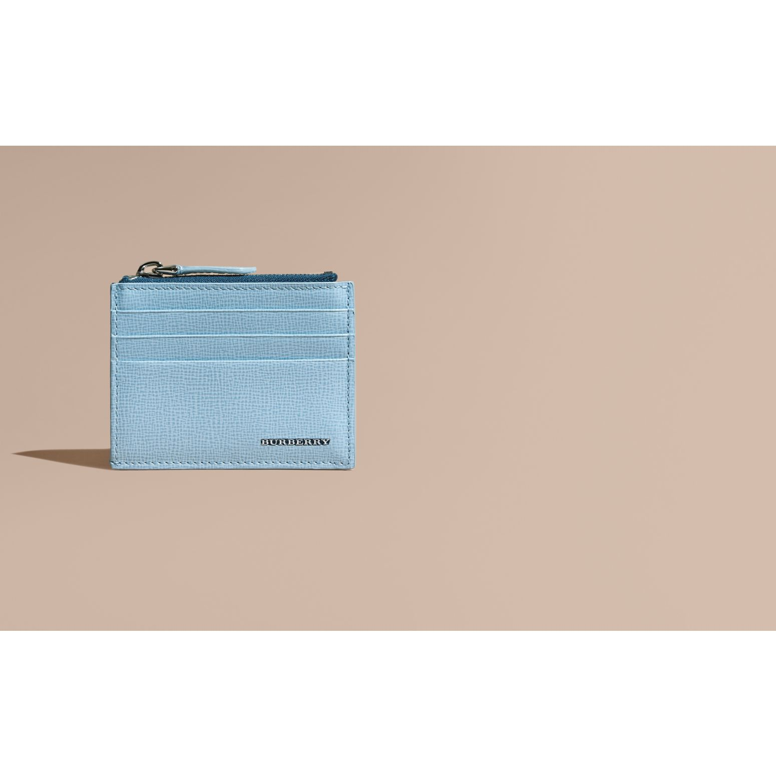 London Leather Zip-top Card Case Powder Blue - gallery image 2