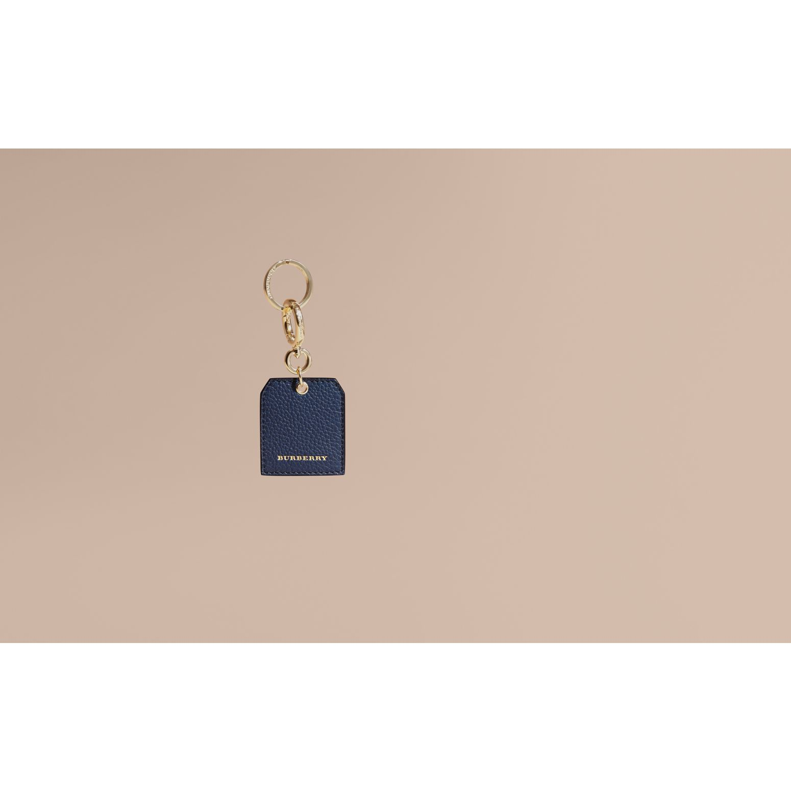 Grainy Leather Key Charm in Bright Navy - Women | Burberry Australia - gallery image 2