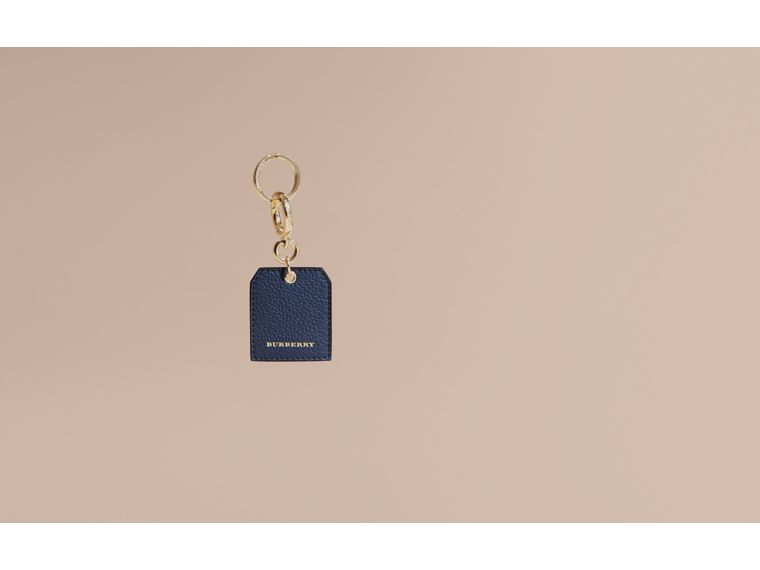 Grainy Leather Key Charm in Bright Navy - Women | Burberry Australia - cell image 1