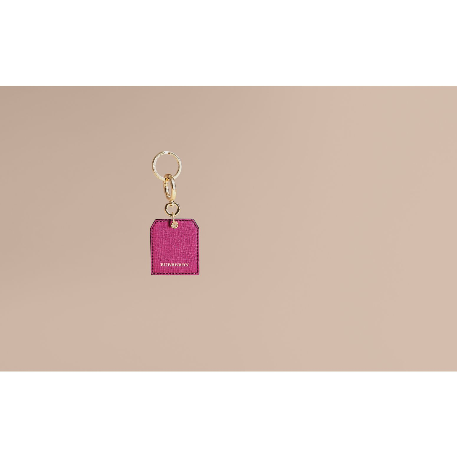 Grainy Leather Key Charm in Brilliant Fuchsia - Women | Burberry - gallery image 2