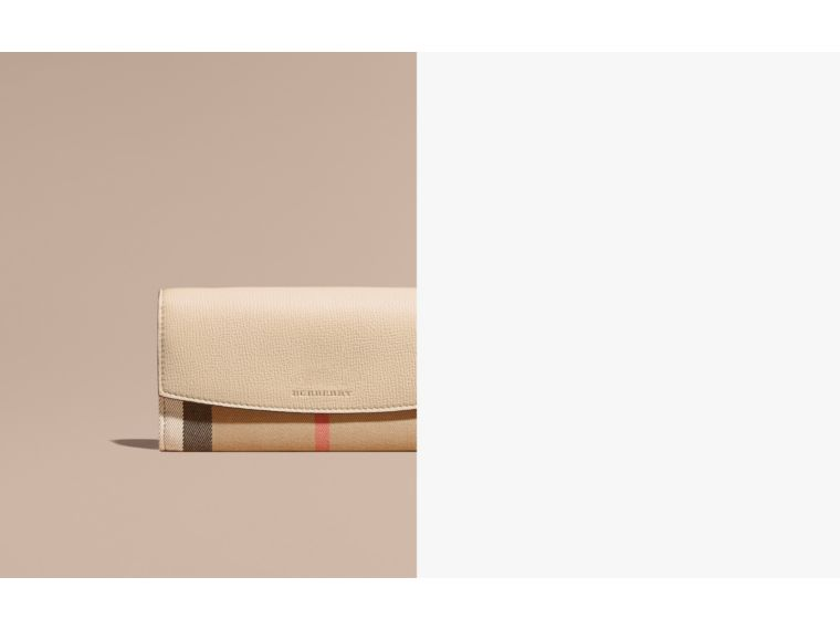 House Check And Leather Continental Wallet Limestone - cell image 1