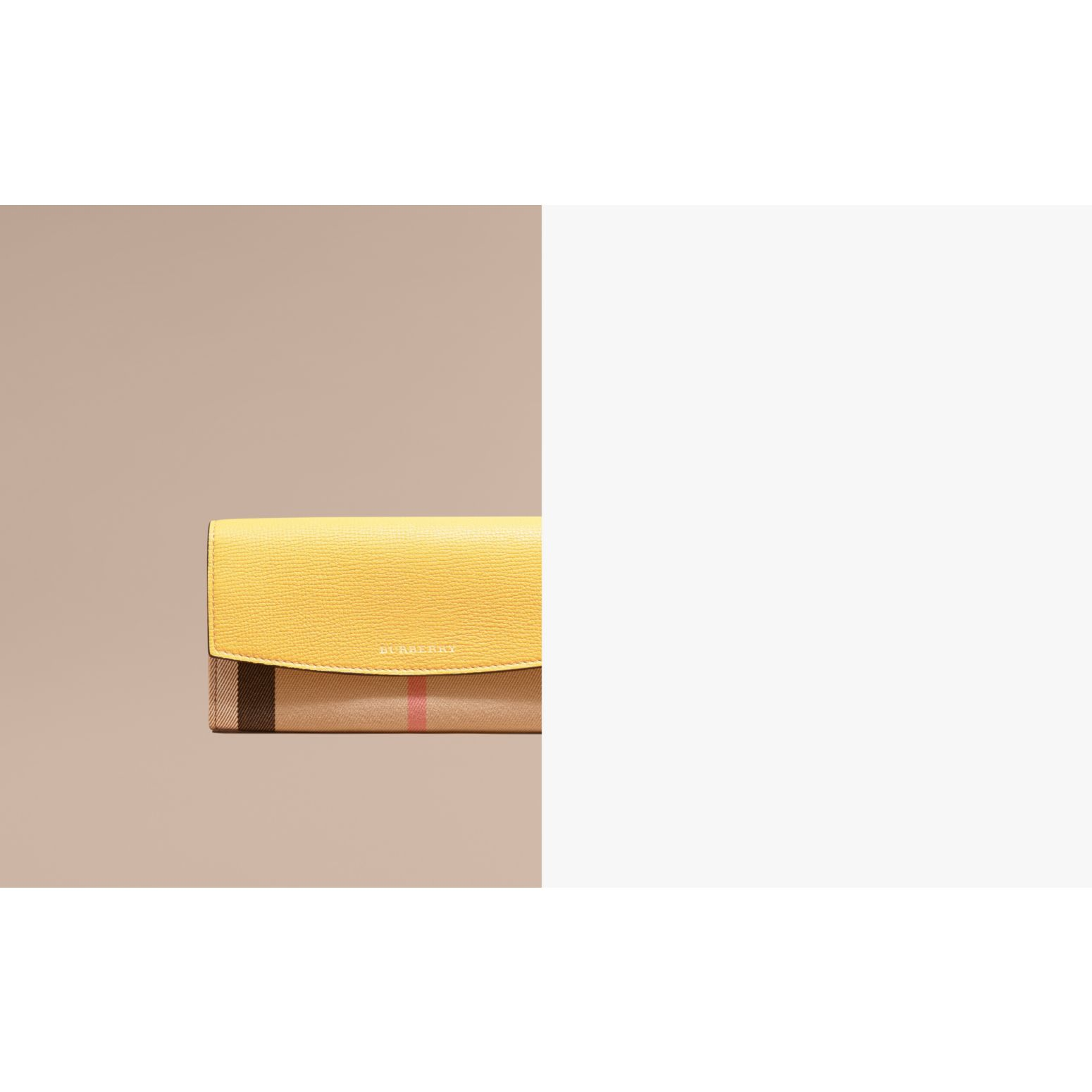 House Check and Leather Continental Wallet Citrus Yellow - gallery image 2