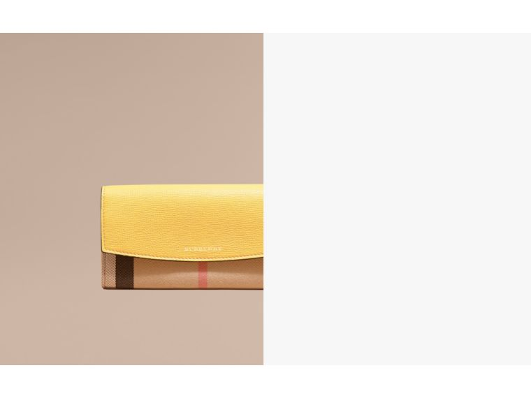 Citrus yellow House Check and Leather Continental Wallet Citrus Yellow - cell image 1