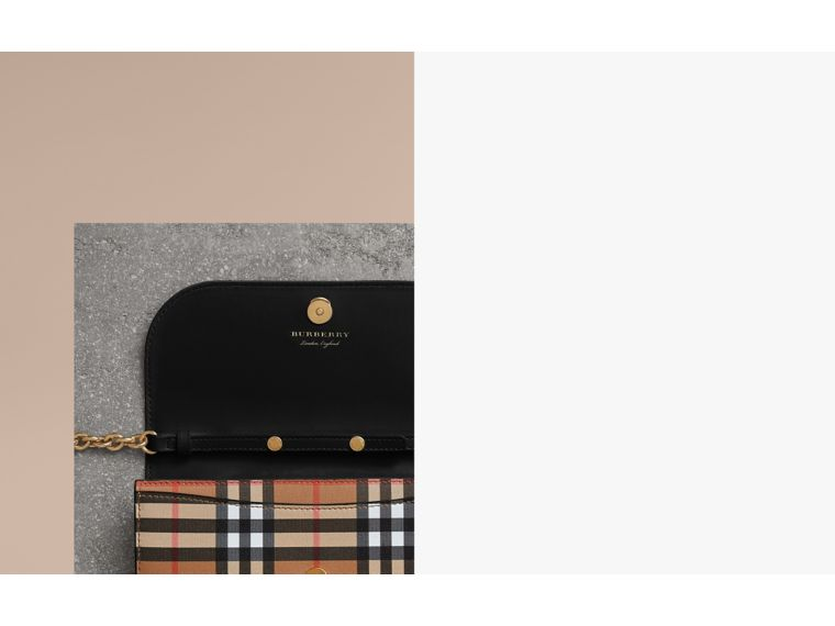 House Check and Leather Wallet with Chain in Black - Women | Burberry United Kingdom - cell image 1
