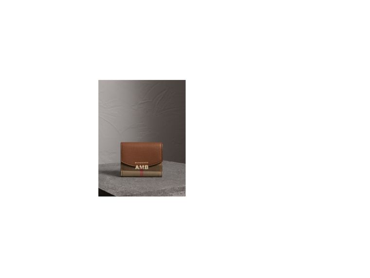 House Check and Leather Wallet in Tan - Women | Burberry Australia - cell image 1