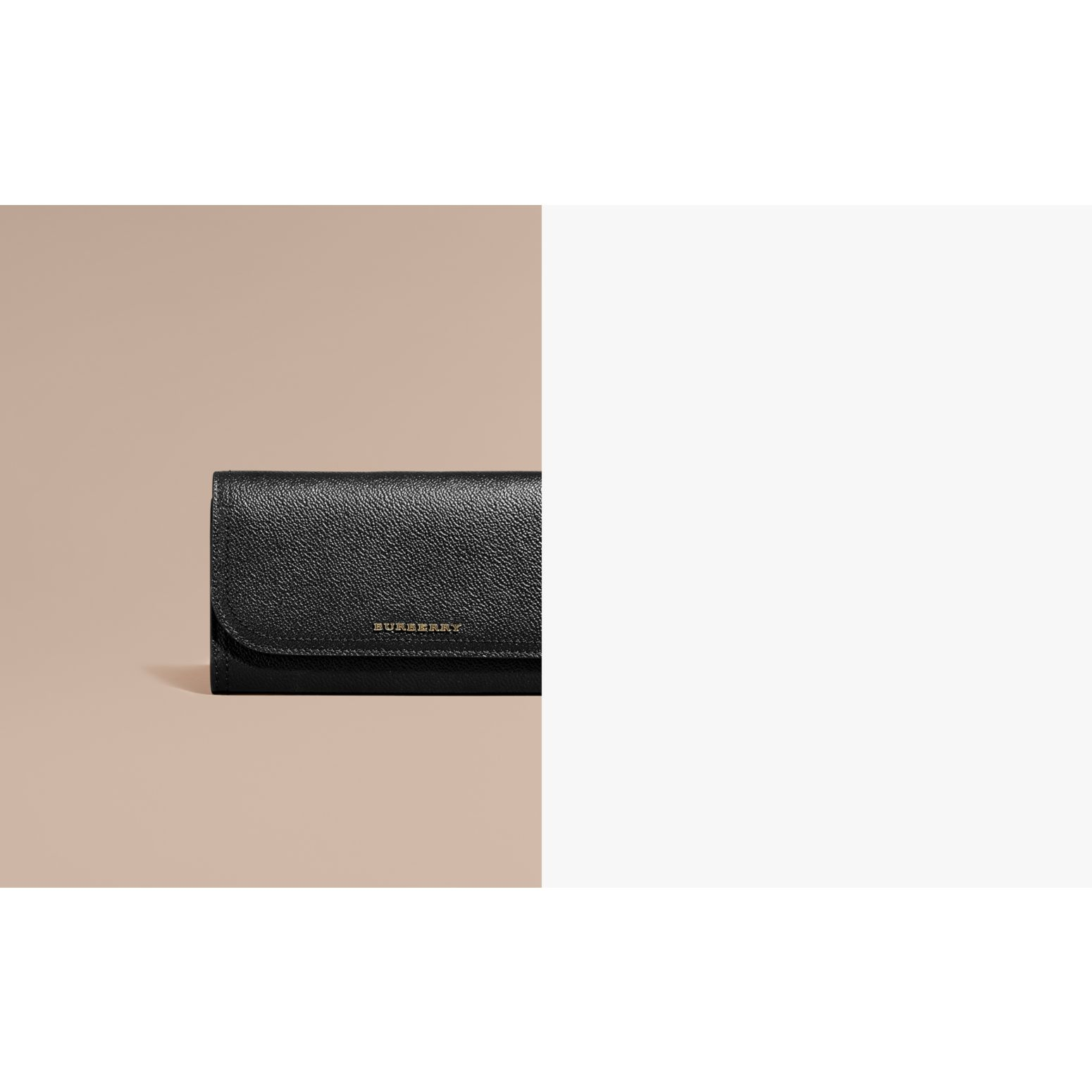 Grainy Leather Slim Continental Wallet in Black - Women | Burberry - gallery image 2