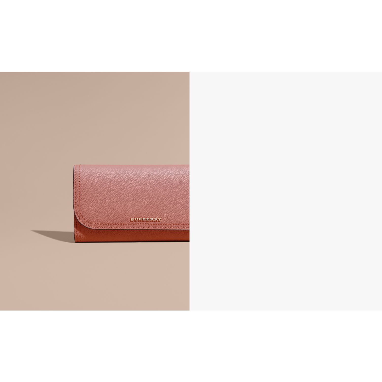 Grainy Leather Slim Continental Wallet in Dusty Pink - Women | Burberry - gallery image 2