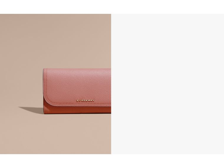 Grainy Leather Slim Continental Wallet in Dusty Pink - Women | Burberry Australia - cell image 1