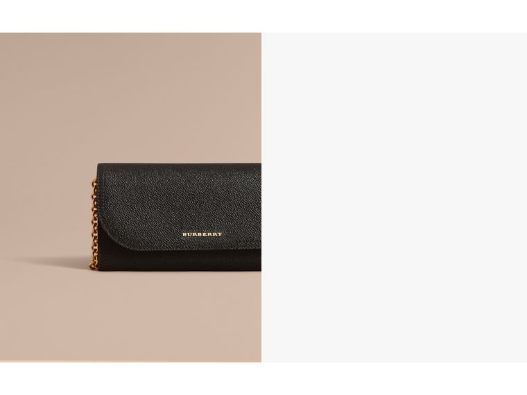 Leather Wallet with Chain in Black - Women | Burberry Australia - cell image 1