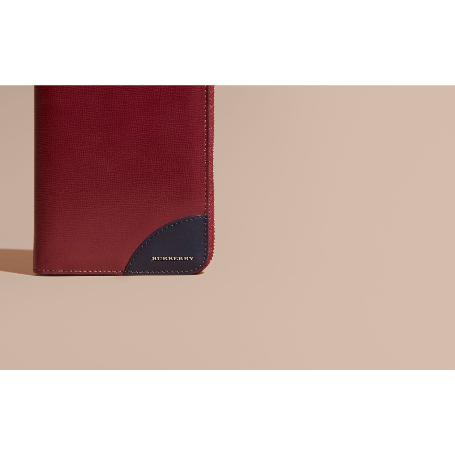 Contrast Corner London Leather Ziparound Wallet Burgundy Red - gallery image 2