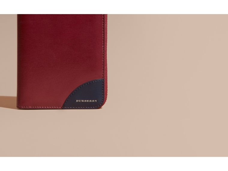 Contrast Corner London Leather Ziparound Wallet Burgundy Red - cell image 1