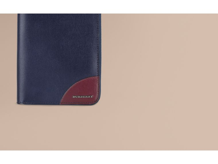 Contrast Corner London Leather Ziparound Wallet Dark Navy - cell image 1