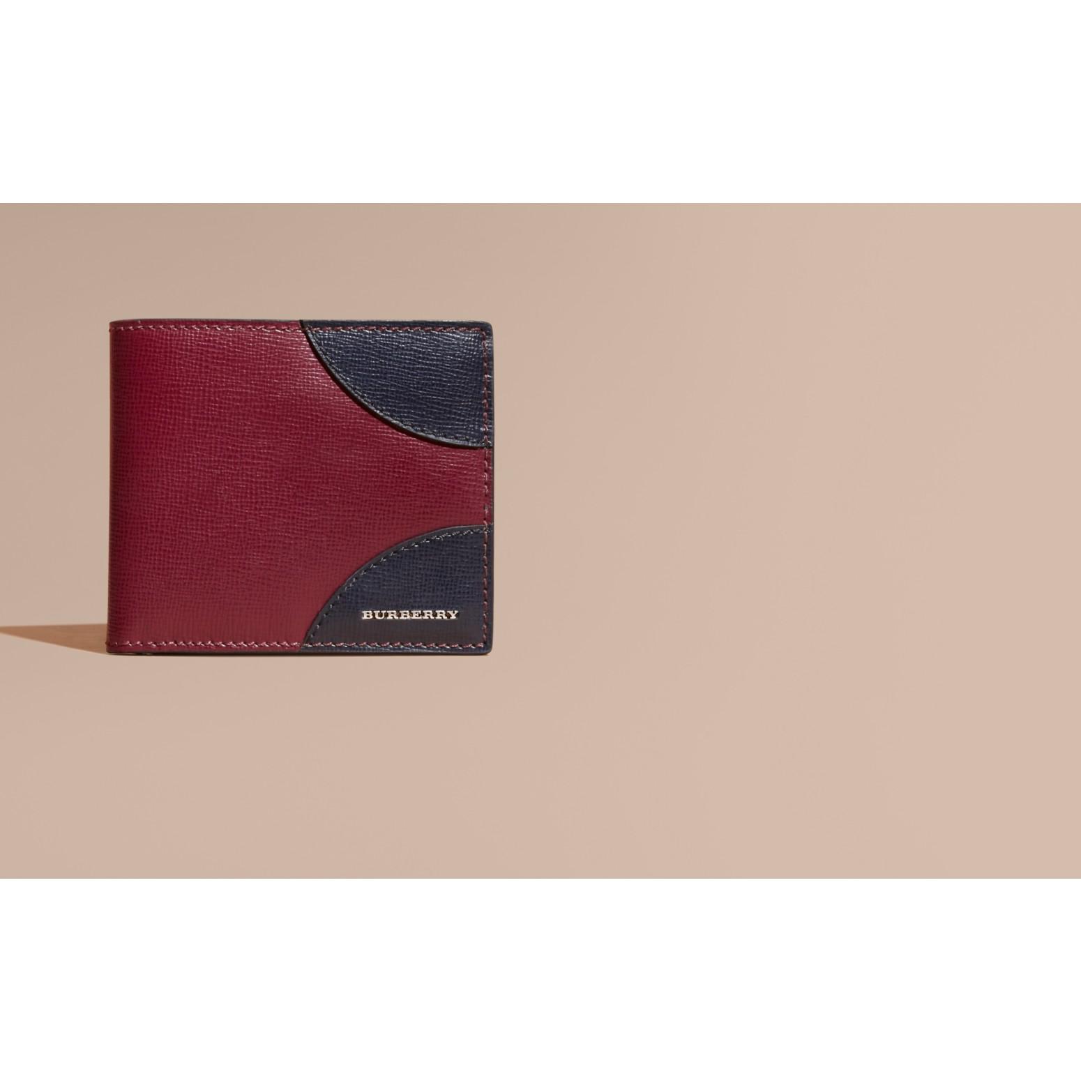 Contrast Corner London Leather Folding Wallet Burgundy Red - gallery image 2