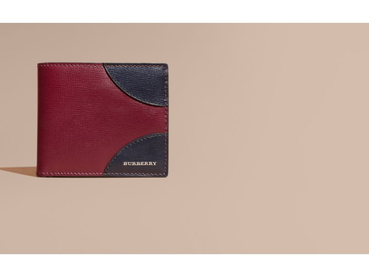 Contrast Corner London Leather Folding Wallet Burgundy Red - cell image 1