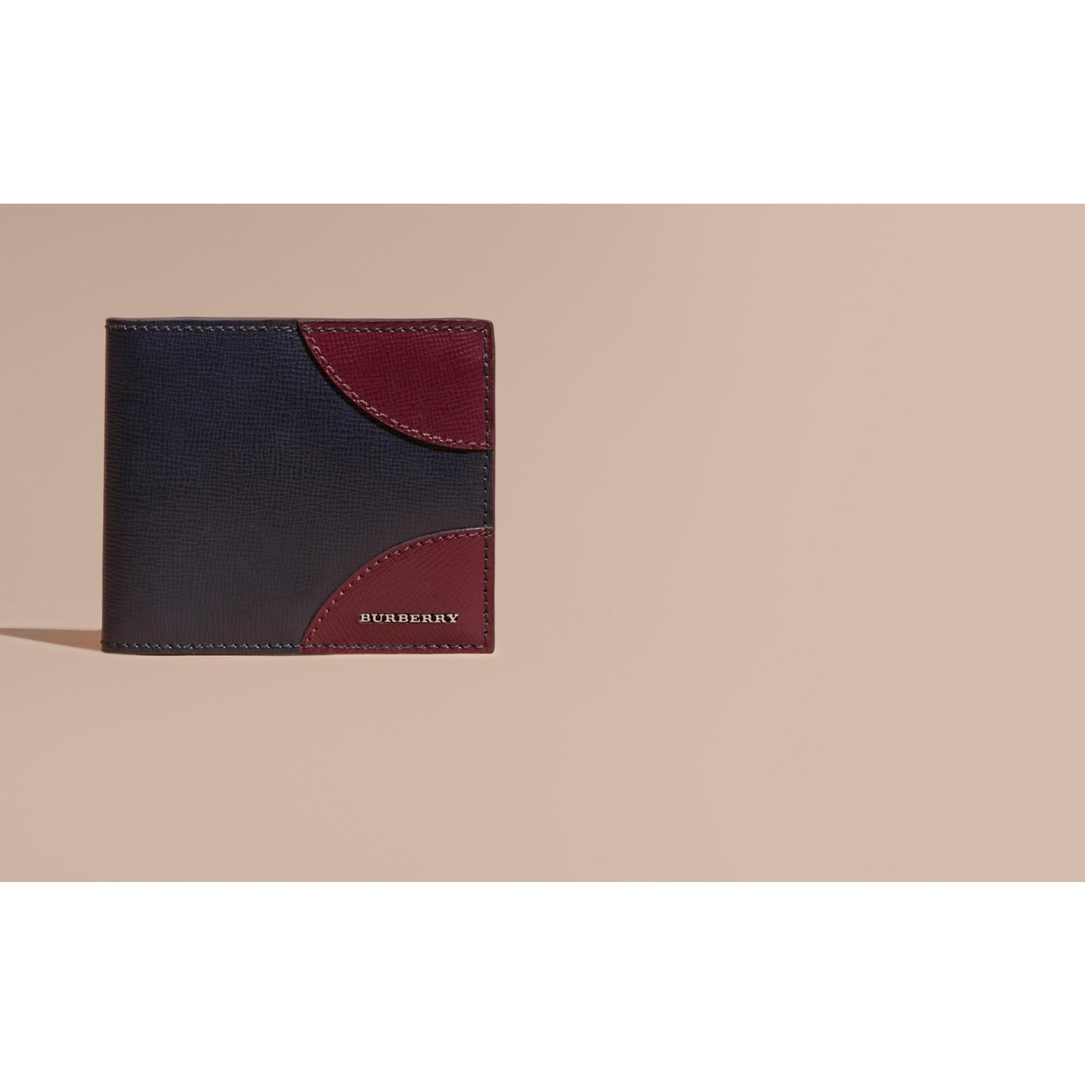 Contrast Corner London Leather Folding Wallet Dark Navy - gallery image 2