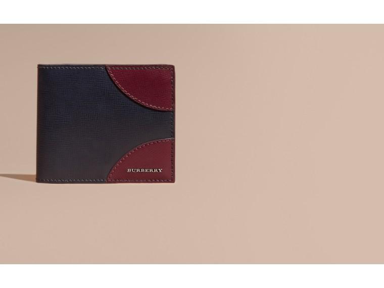 Contrast Corner London Leather Folding Wallet Dark Navy - cell image 1