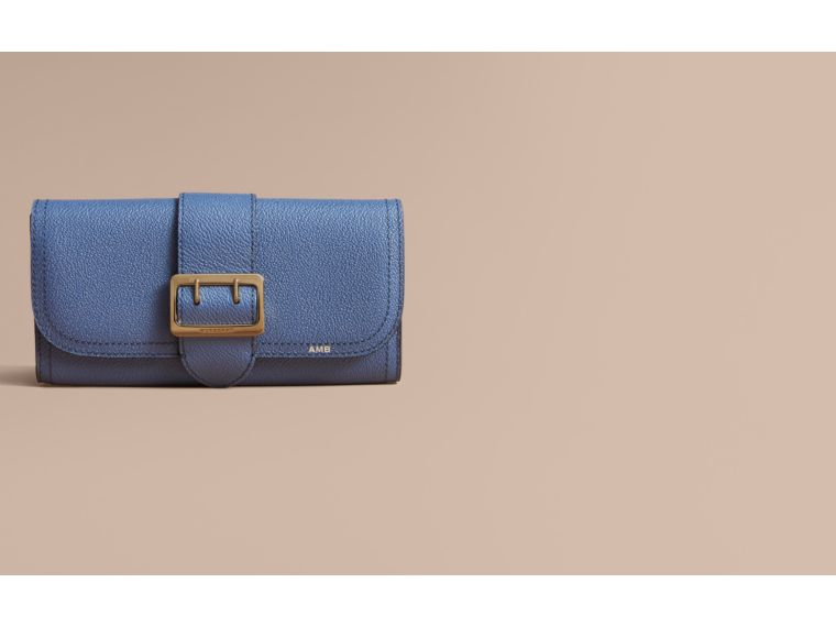 Textured Leather Continental Wallet in Steel Blue - Women | Burberry - cell image 1