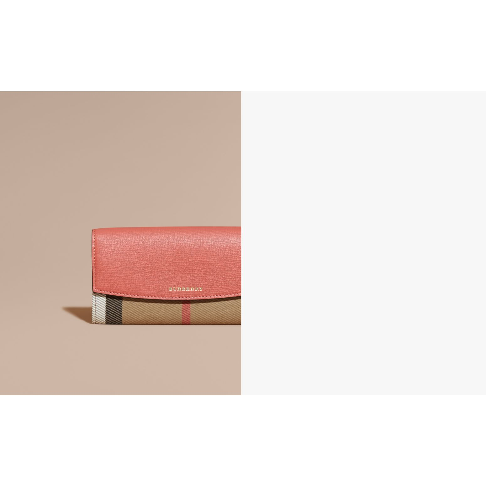 House Check And Leather Continental Wallet in Cinnamon Red - Women | Burberry Canada - gallery image 1