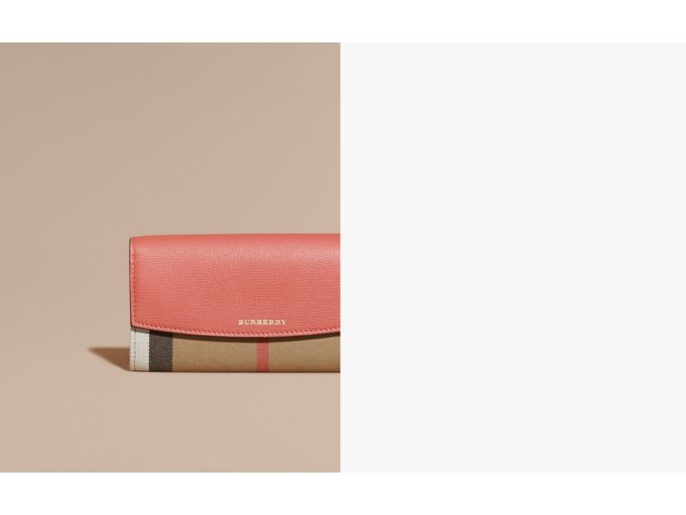 House Check And Leather Continental Wallet in Cinnamon Red - Women | Burberry Canada - cell image 1