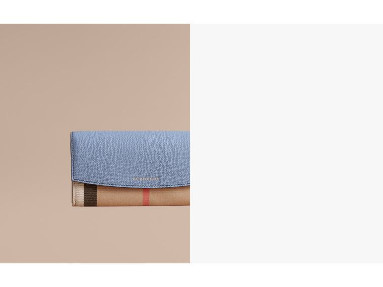 House Check And Leather Continental Wallet in Slate Blue - Women | Burberry - cell image 1