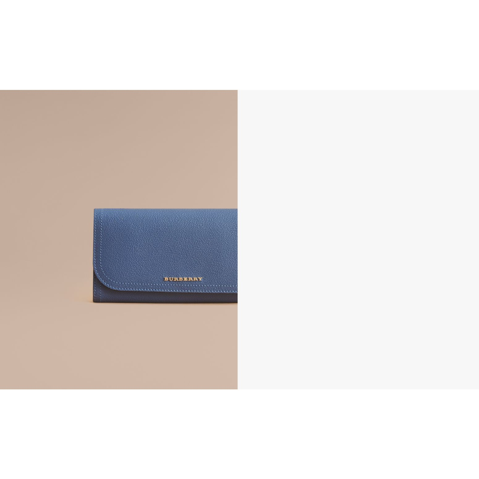 Two-tone Leather Continental Wallet and Coin Case in Steel Blue/multi - Women | Burberry - gallery image 2