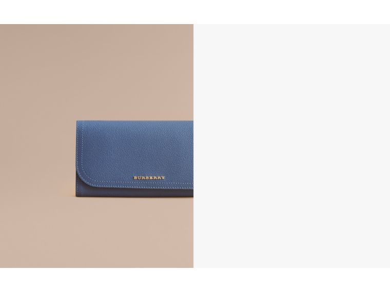 Two-tone Leather Continental Wallet and Coin Case in Steel Blue/multi - Women | Burberry - cell image 1