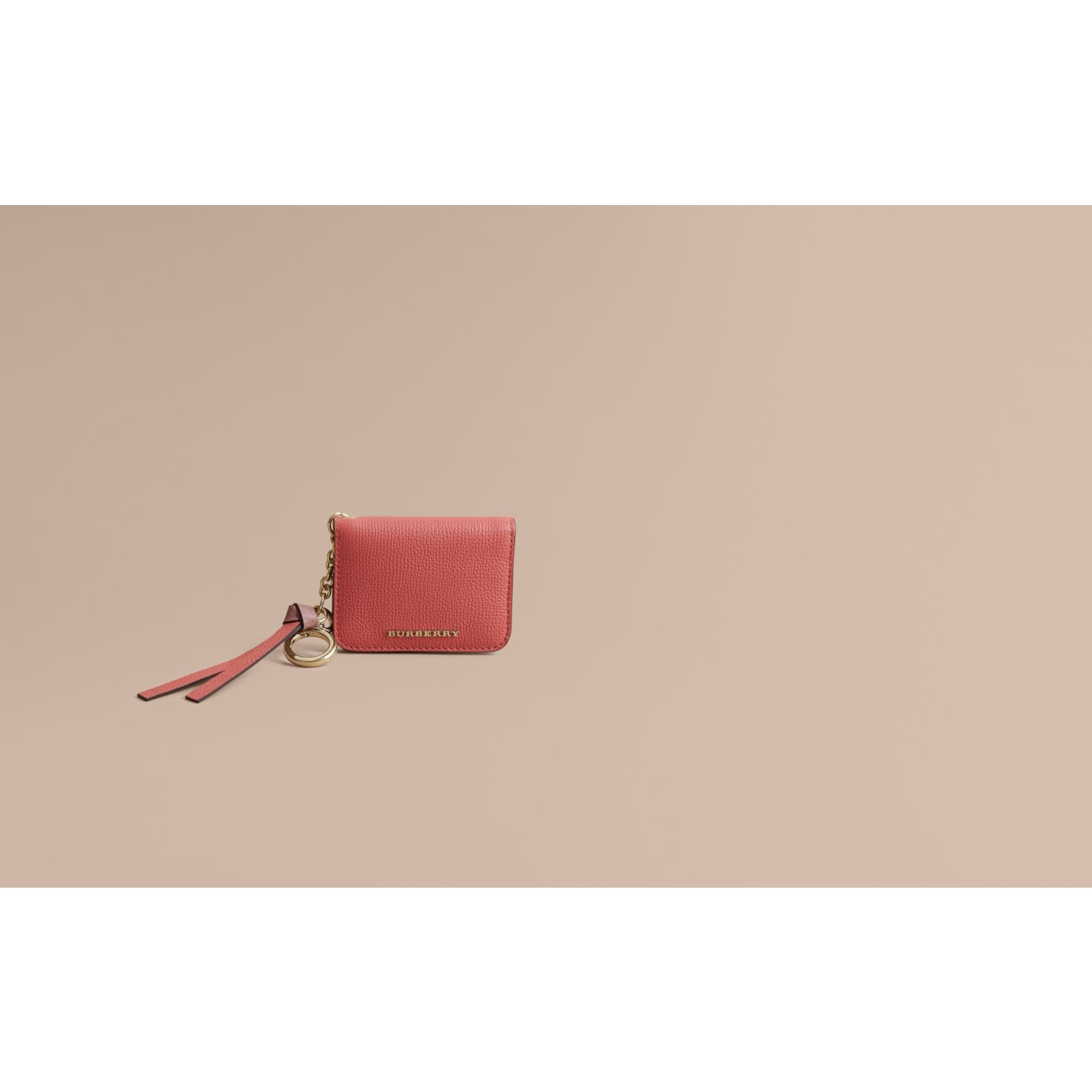 Leather and Haymarket Check ID Card Case Charm in Cinnamon Red/multi - Women | Burberry - gallery image 1