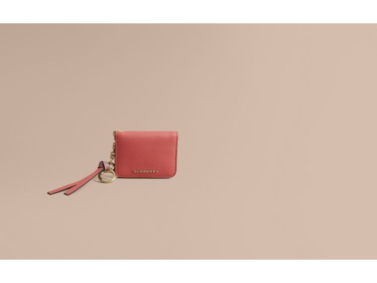 Leather and Haymarket Check ID Card Case Charm in Cinnamon Red/multi - Women | Burberry United Kingdom - cell image 1